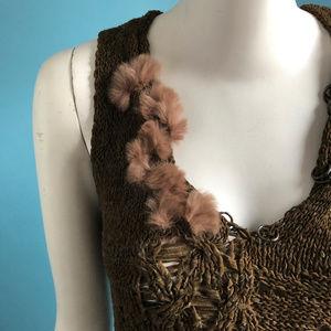 Kenzo Tops - KENZO Jungle Crochet Knit Tank Rabbit Fur Trim M